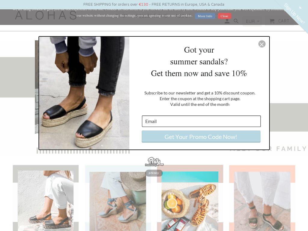Alohas Sandals discount codes